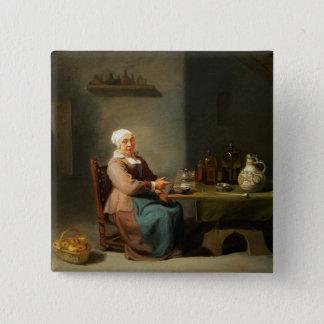 台所の女性 5.1CM 正方形バッジ