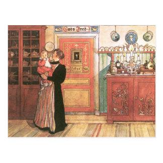 台所の母そしてベビー ポストカード