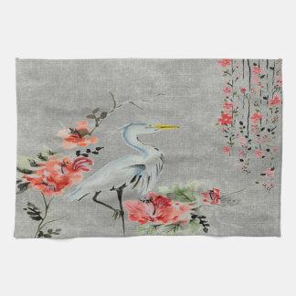 台所タオルのアジア花クレーン鳥 キッチンタオル
