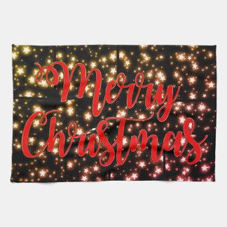 台所タオルのメリークリスマスの星明かりの夜 キッチンタオル