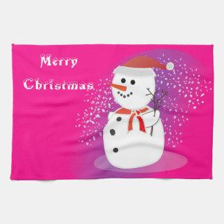 台所タオルのメリークリスマスの素朴でかわいい雪だるま キッチンタオル