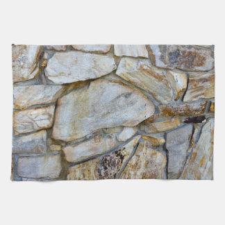 台所タオルの石の壁の質の写真 キッチンタオル