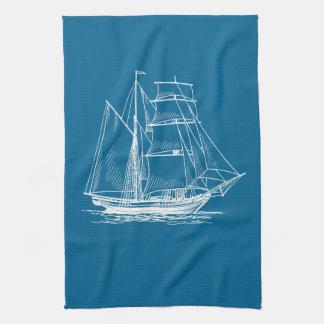 台所タオルの航海のな青い帆ボートの船 キッチンタオル