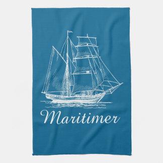 台所タオルの青い帆ボートの船Maritimer キッチンタオル