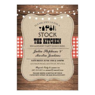 台所バーのパーティーの婚約の招待状に貯蔵して下さい カード