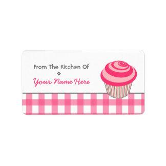 台所ラベル-ピンクのカップケーキおよびギンガム ラベル