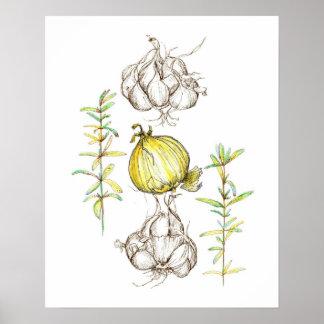 台所芸術のタマネギのニンニクのローズマリーのハーブのスケッチ ポスター