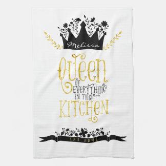 台所 金ゴールド及び黒の女王 キッチンタオル