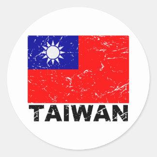 台湾のヴィンテージの旗 ラウンドシール