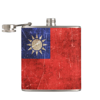 台湾のヴィンテージの老化させ、傷付けられた旗 フラスク