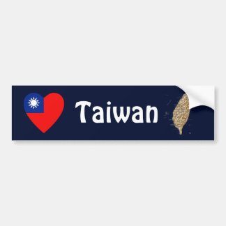 台湾の旗のハート + 地図のバンパーステッカー バンパーステッカー