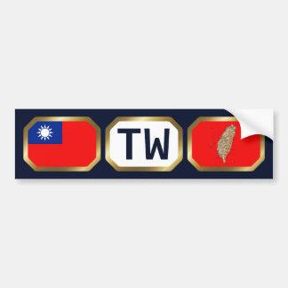 台湾の旗の地図コードバンパーステッカー バンパーステッカー