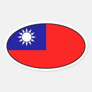 台湾の旗の楕円形のステッカー 楕円形シール