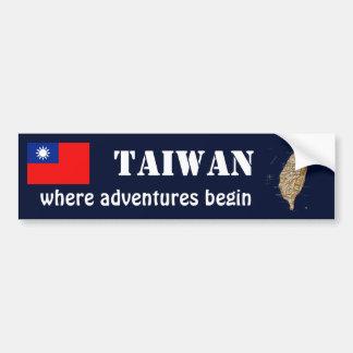 台湾の旗 + 地図のバンパーステッカー バンパーステッカー