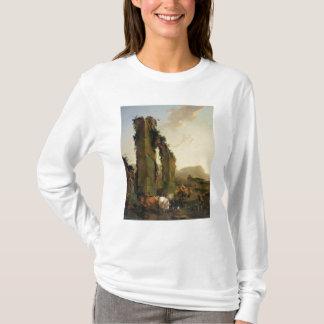台無しにされた水路による牛を持つ小作人 Tシャツ