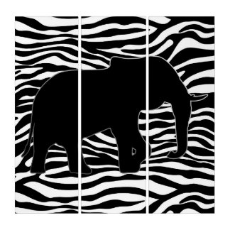 右の象のシルエットの黒 + あなたの背景 トリプティカ