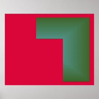 右の赤いのへの単独でオップアートおよび緑 ポスター