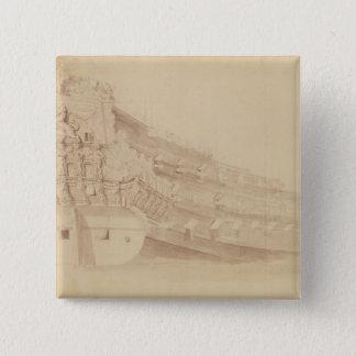 """右舷の四分の一からの""""金ライオン」 5.1CM 正方形バッジ"""