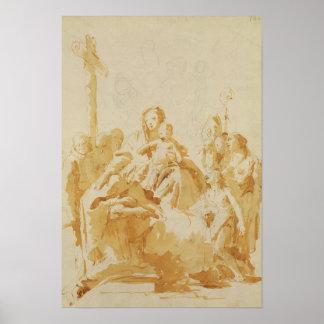 司教、修道士及び女性によって崇拝されるヴァージンおよび子供 ポスター