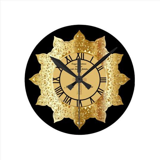 司祭第50の金記念祭の金ゴールドの名前入りな時計 壁時計