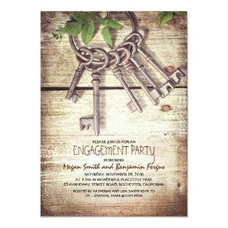 合い鍵の素朴な婚約パーティの招待状 カード