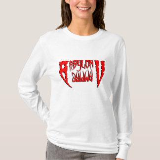 合う女性BVの歯のRed_Whtのフード付きスウェットシャツ Tシャツ