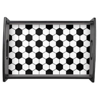 合わせられたサッカーボールパターン白黒 トレー