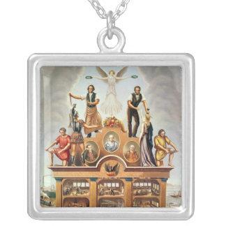 合併された社会の貿易紋章 シルバープレートネックレス