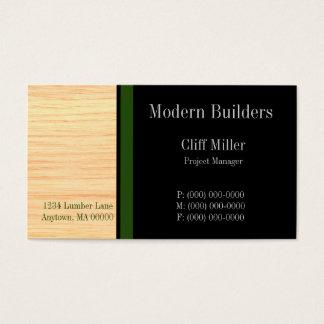 合板の建設業カード、深緑色 名刺