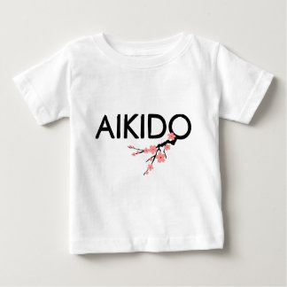 合気道の桜の文字 ベビーTシャツ
