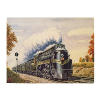 合理化された蒸気機関車 ウッドウォールアート