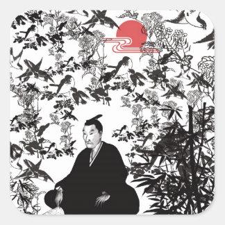吉田松陰と鳥 スクエアシール