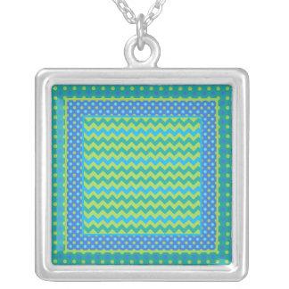 吊り下げ式のネックレス: Mix'n'Matchのシェブロン、水玉模様 シルバープレートネックレス