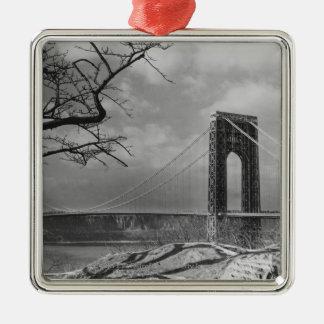 吊り橋の眺めB&W メタルオーナメント