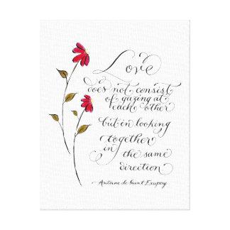 同じ方向愛引用文のタイポグラフィの愛 キャンバスプリント