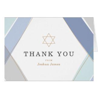 同世代の人のストライプのバー(ユダヤ教の)バル・ミツバーは感謝していしています ノートカード