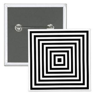 同心の正方形の無限光学芸術ボタン 5.1CM 正方形バッジ