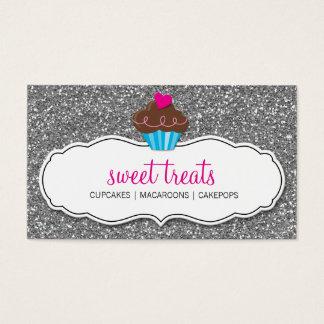 名刺のかわいいカップケーキのピンクの銀のグリッター 名刺