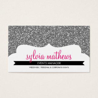 名刺のスタイリッシュなグリッターの輝きの銀のピンク 名刺