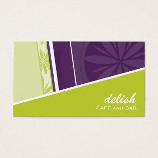 名刺のモダンでファンキーな角度のライムの紫色 名刺
