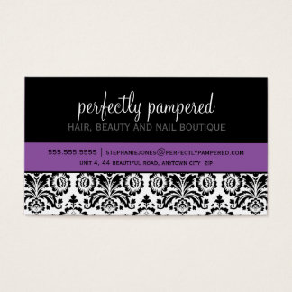 名刺のモダンなダマスク織の黒のすみれ色の紫色 名刺