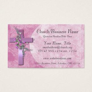 名刺: ピンクの花が付いている紫色の十字 名刺