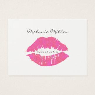 名刺-化粧の唇のピンク 名刺