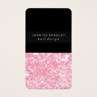 名刺-単純化したグリッターの薄いピンク 名刺