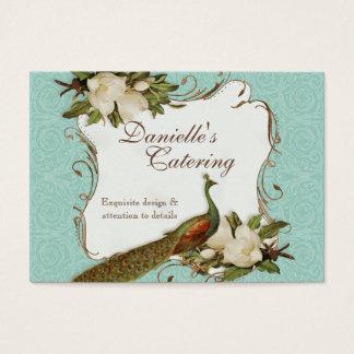 名刺-孔雀のマグノリアの花柄のダマスク織 名刺