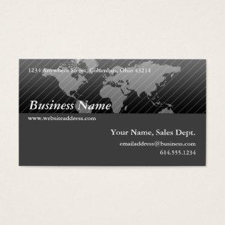 名刺:: 黒い及び灰色の世界地図のデザイン2 名刺
