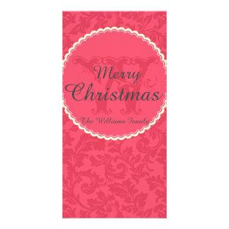 名前およびモノグラムとのエレガントで赤いダマスク織のクリスマス カード