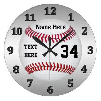 名前および数を用いる名前入りな野球の時計 ラージ壁時計