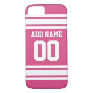 名前および数-ピンクの白を用いるスポーツジャージー iPhone 8/7ケース