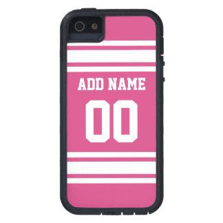名前および数-ピンクの白を用いるスポーツジャージー iPhone SE/5/5s ケース